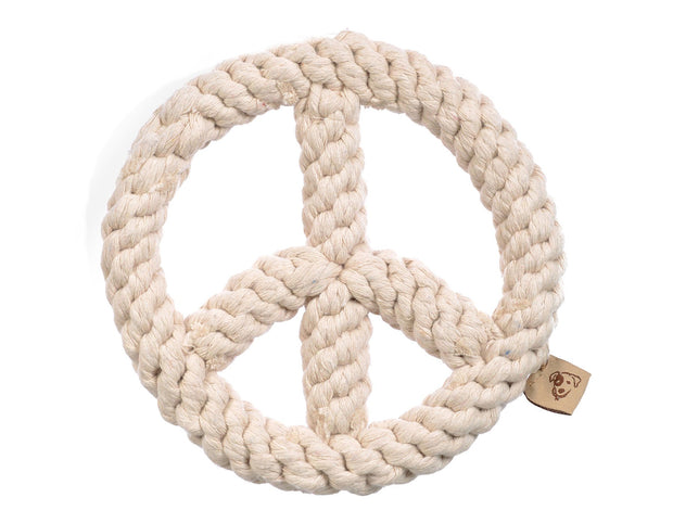 White Peace Sign Rope Dog Toy