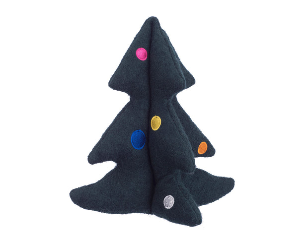 Holiday Tree Woolie Dog Squeak Toy