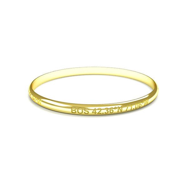 Engraved City Bangle (Cities Q-Z)