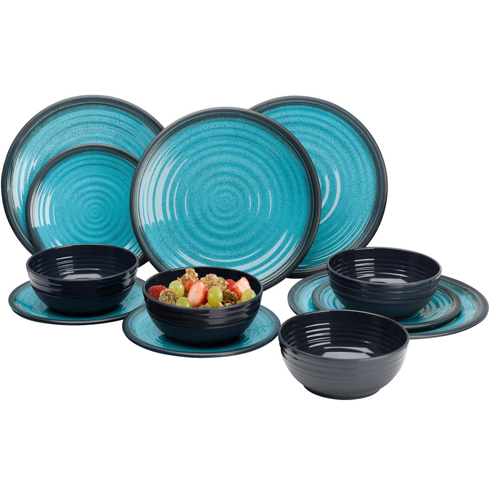 Granite Aqua 12 Piece Dinner Set - Life's a breeze GB Ltd