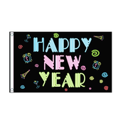 Neon Happy New Year Flag - Life's a breeze GB Ltd