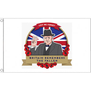 Winston Churchill, Lest we forget Remembrance Flag 5ft x 3ft - Life's a breeze GB Ltd
