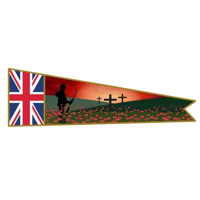 Lone Soldier with Union jack banner. Remembrance Banner Flag