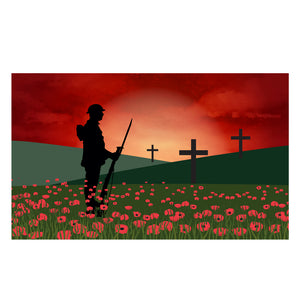 Remembrance flag, Poppy Lone Soldier. 5 x 3 ft flag