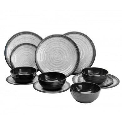 Granite Grey 12 Piece Dinner Set - Life's a breeze GB Ltd