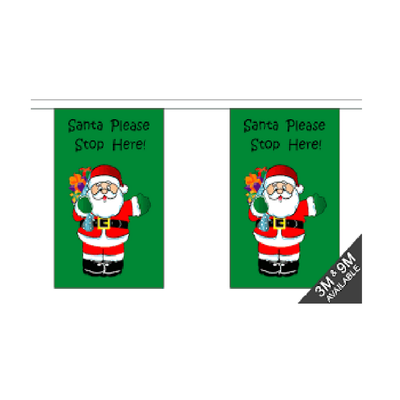 Christmas Bunting. Santa Stop Here. 9 Meters - Life's a breeze GB Ltd