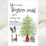 Boston Terrier Dog Christmas Card, Boston Terrier Dog, Funny Dog Greetings Card, Dog Christmas Cards, Boston Terrier Greetings Card.