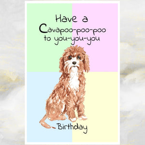Cavapoo Dog Greetings Card, Cavapoo Card, Funny Dog Greetings Card, Cavapoo Dog, Dog Cards, Dog, Dog Birthday Card.
