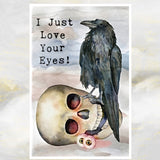 Gothic Raven and Skull Greetings Card, Gothic Humour Card, Alternative Valentine
