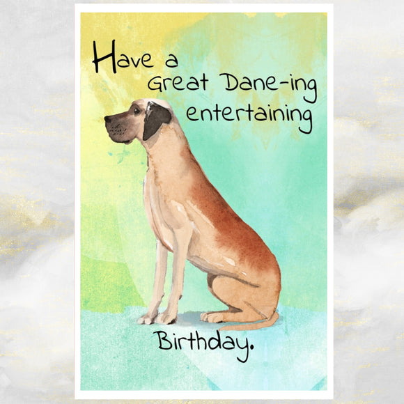 Great Dane Dog Greetings Card, Funny Dog Greetings Card, Dog Birthday Cards, Great Dane Dog Card, Great Dane Dog, Dog Cards, Dog.
