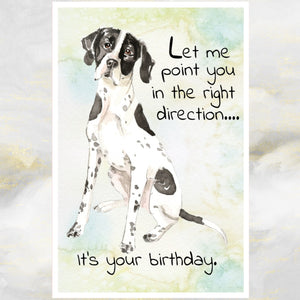 English Pointer Dog Greetings Card, Funny Dog Greetings Card, Pointer Dog Card, Dog Birthday Cards, Pointer Dog, Dog Cards.