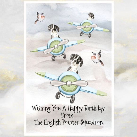 English Pointer Dogs Greetings Card, Funny Pointer Dog Birthday Card, Pointers.