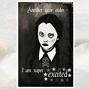 super excited goth card