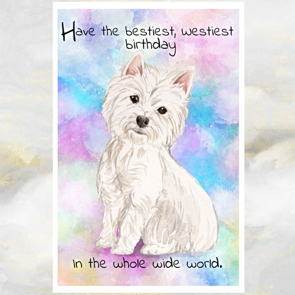 West Highland White Terrier Dog Greetings Card, Funny Dog Greetings Card, West Highland Terrier Dog Card, Dog Birthday Cards, Westie Dog, Dog Cards, Dog.