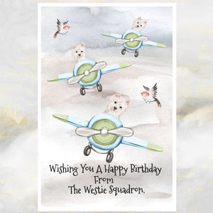 West Highland Terrier Dogs Greetings Card,Funny Westie Dog Birthday Card, Westie