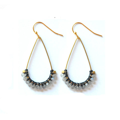 Macrame Stone Earrings - Labradorite