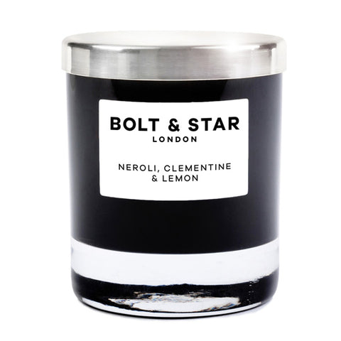 Neroli, Clementine & Lemon essential oils soy wax candle with silver lid (185g)