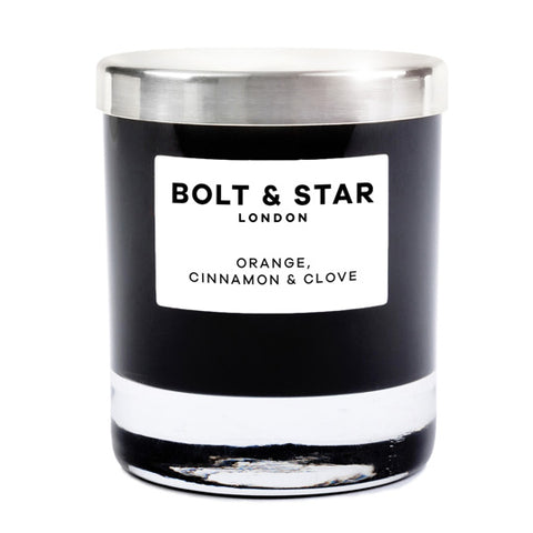 Orange, Cinnamon & Clove essential oils soy wax candle with silver lid (185g)