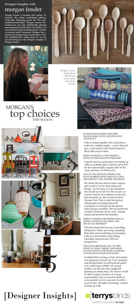 Morgan Fender of Bomisch was featured on UK Designer Insights with her top decor choices of the season