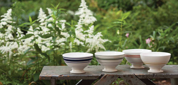 Sir/Madam vintage styled strip Au Lait bowls.