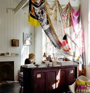 Vintage scarves stitched together as curtains!