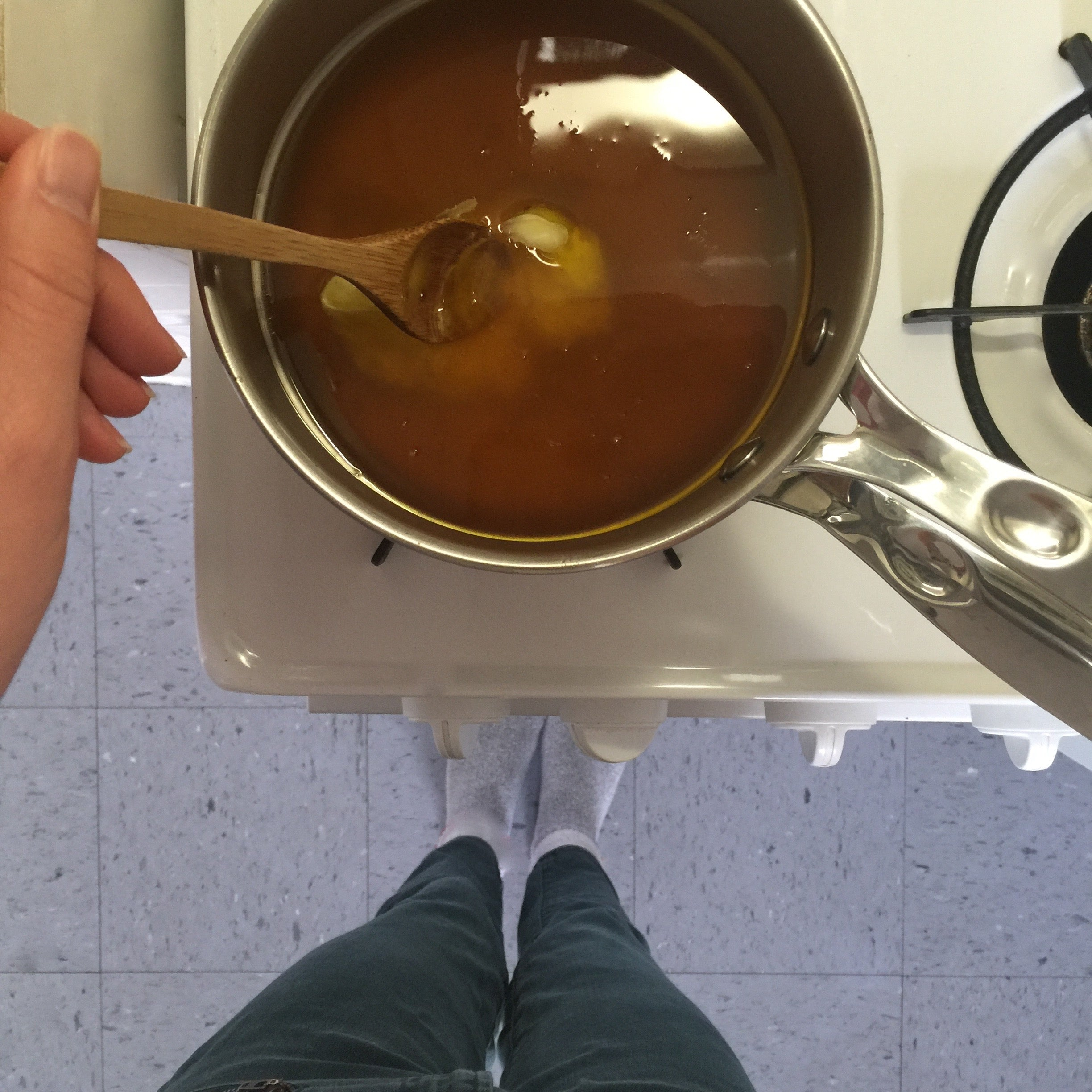 Melting beeswax for candle making at home DIY.