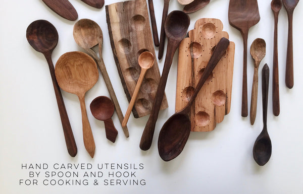 Hand carved utensils for cooking and gathering made in Asheville, NC.