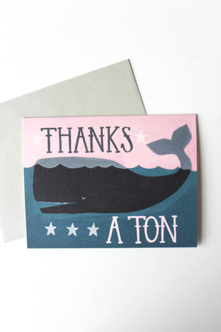 Thanks a Ton Whale Thank You Card