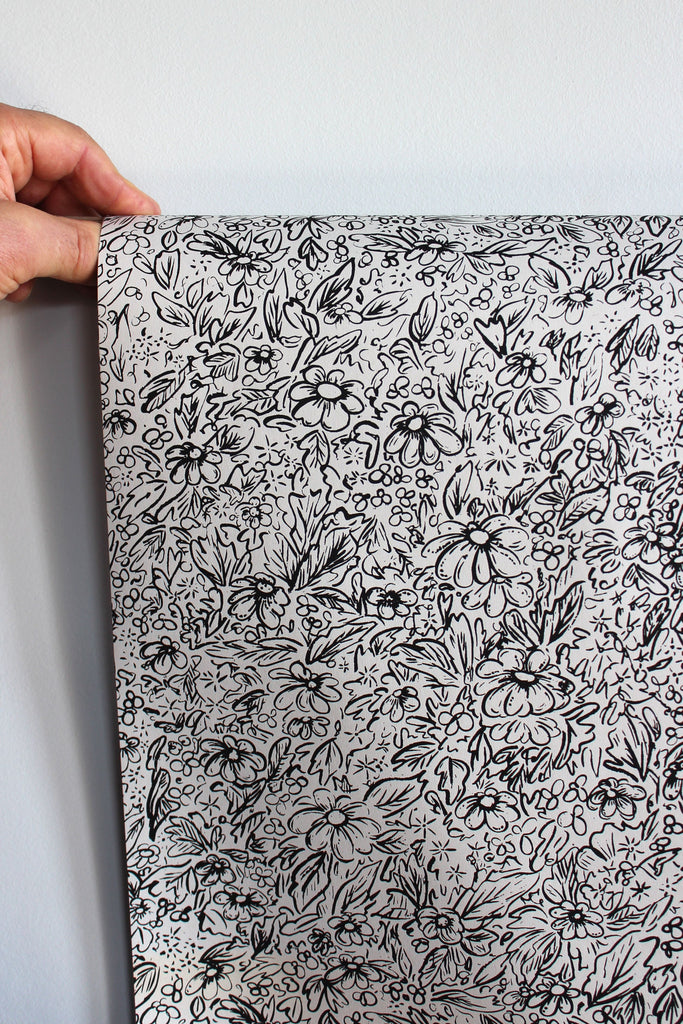 Hand illustrated floral boho gift wrapping paper.