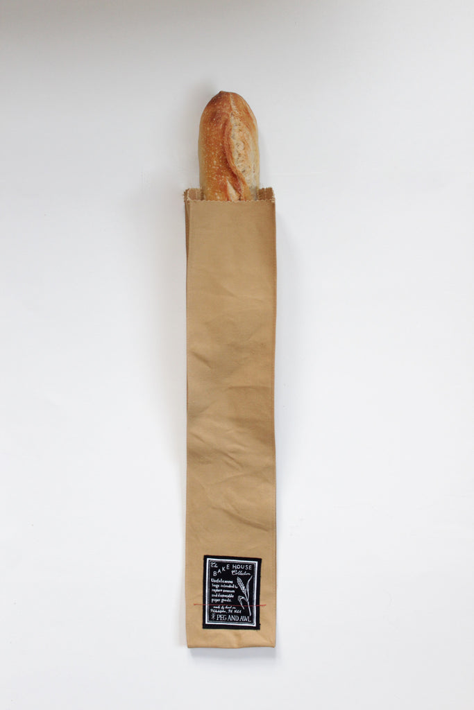 Cotton canvas baguette bag for bakery bread.