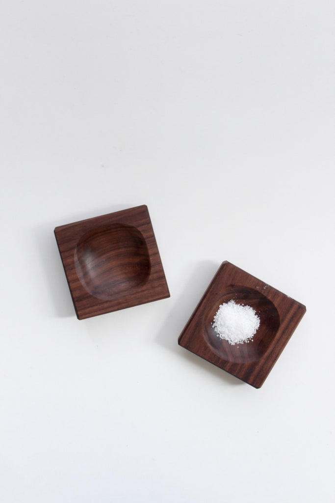 Pinch bowls handmade from reclaimed walnut wood.
