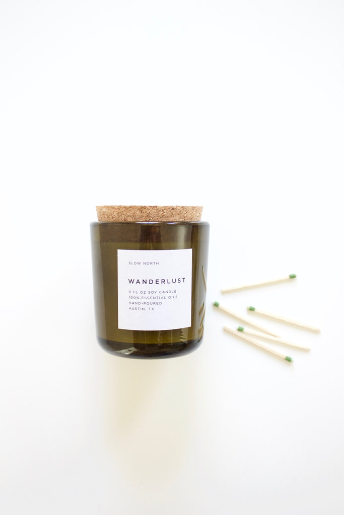 Wanderlust woodsy pure natural hand poured candle.