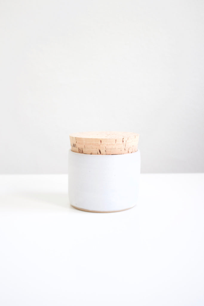 Texas stoneware matte white salt jar.