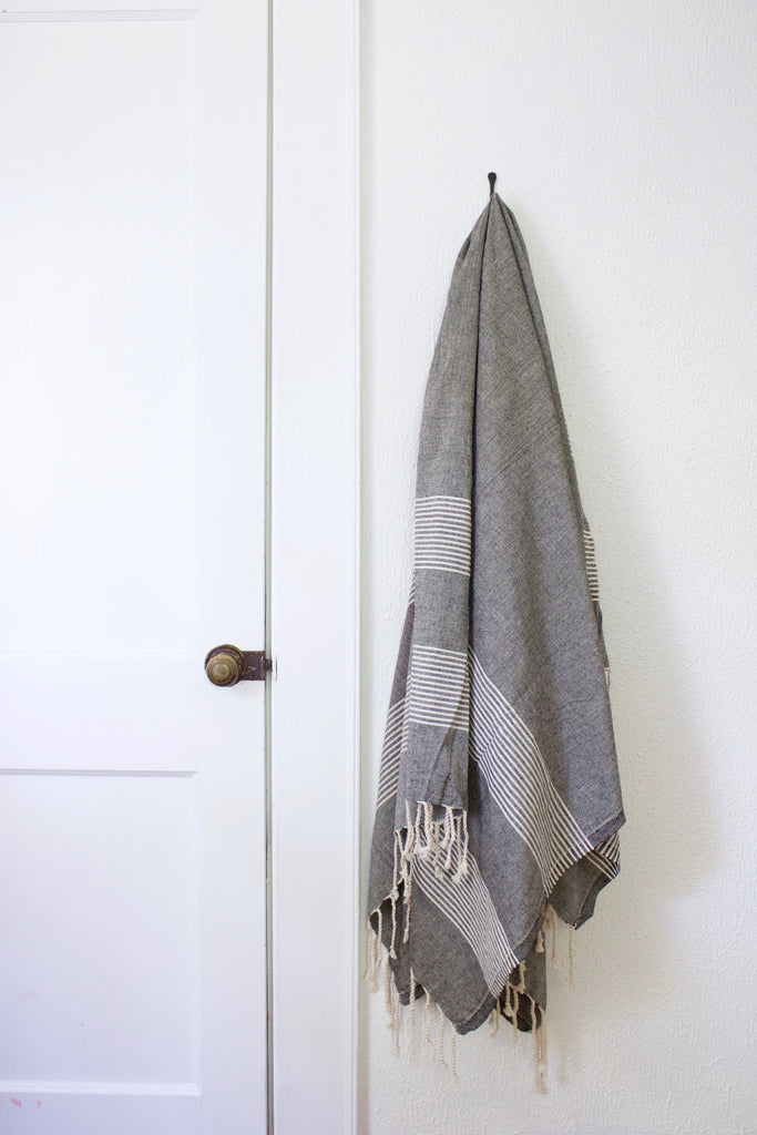Charcoal black striped cotton turkish bath towel.