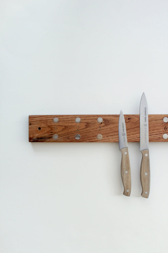 Reclaimed chestnut wood knife rack handmade in the USA.