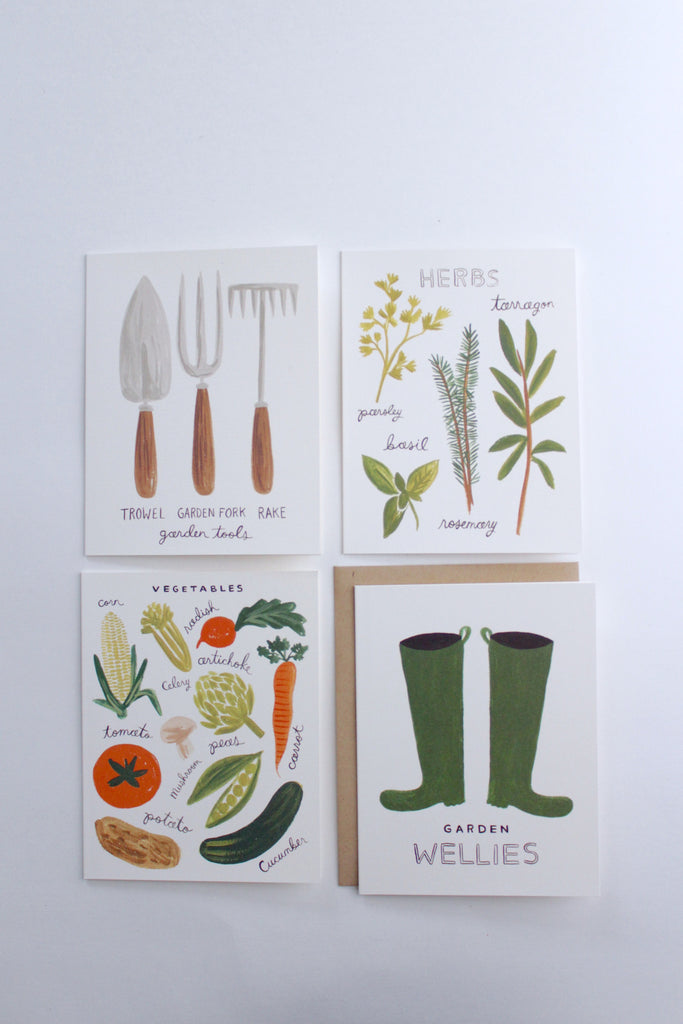 Homegrown herbs gardening greeting card set of eight by Rifle Paper Co.