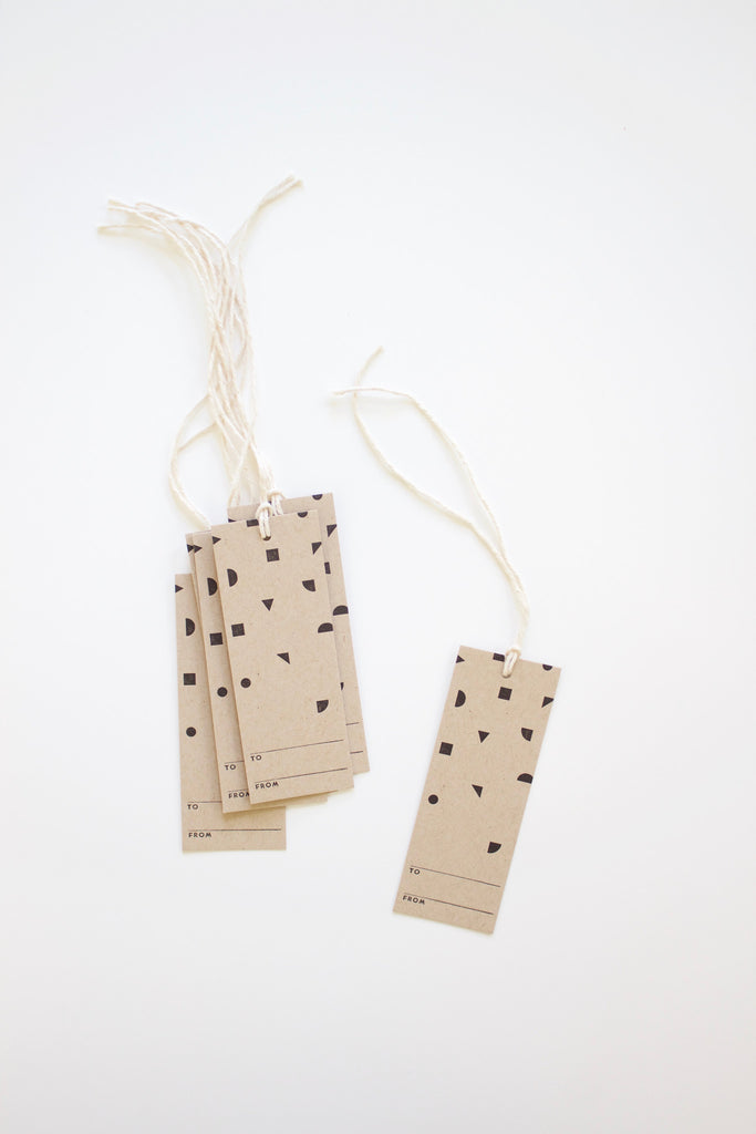 Handmade in the USA confetti geometric gift tags.
