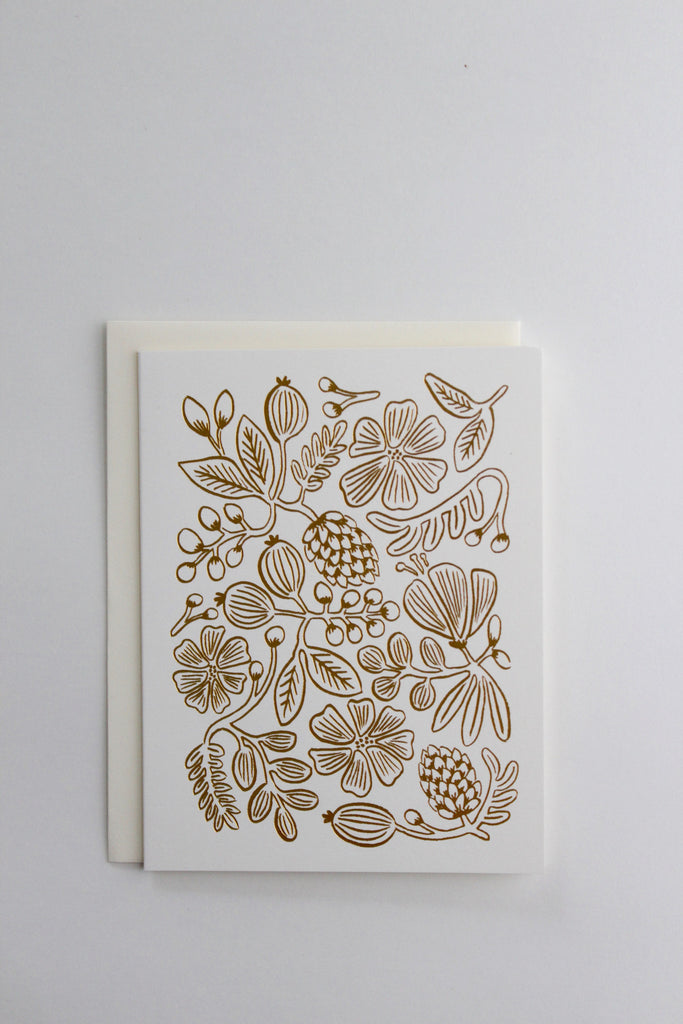 Gold botanical floral greeting card made in the USA by Rifle Paper Co.
