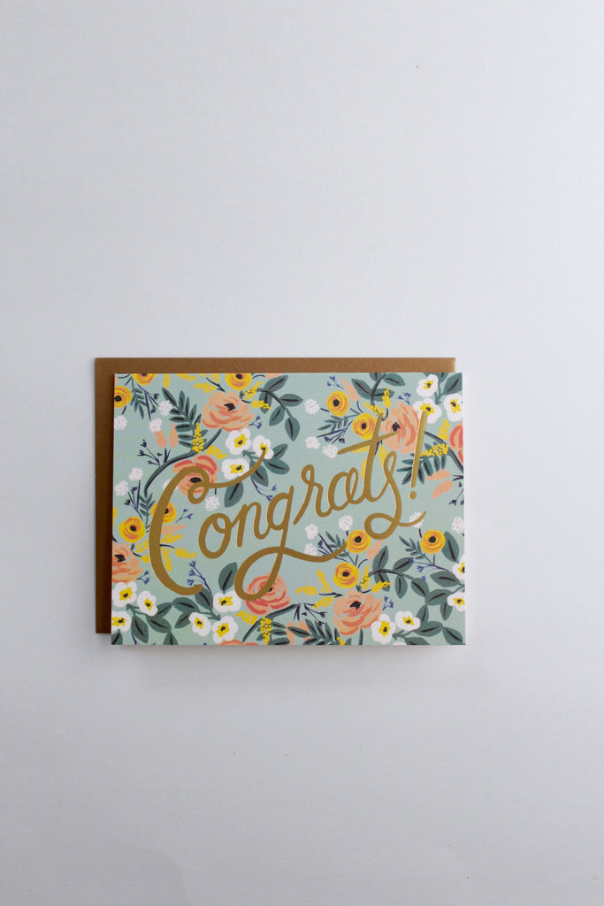 Congrats gold floral greeting card made in the USA by Rifle Paper Co.