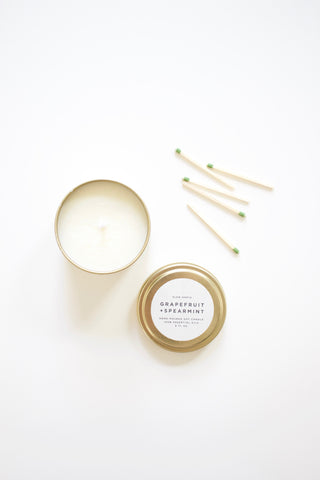 Grapefruit + Spearmint Natural Travel Candle