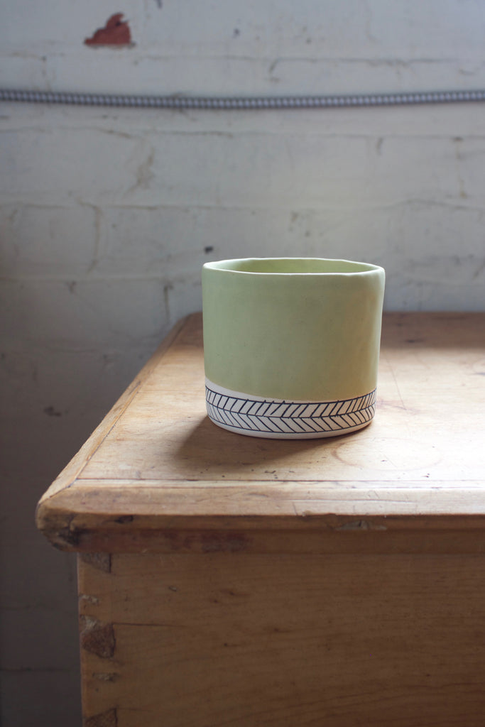 Green pottery planter handmade in the USA by Elizabeth Benotti.