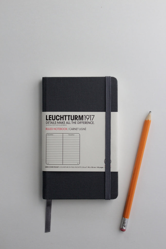 Grey linen field notes journal by Leuchtturm.
