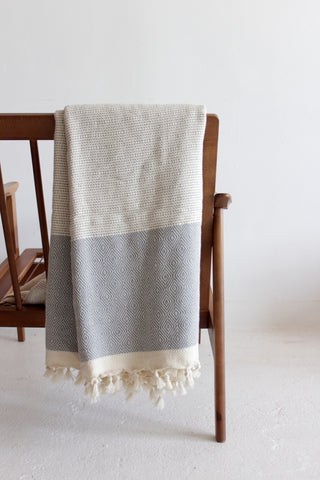 Grey Turkish Pestemal Cotton Throw