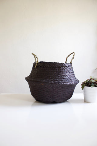 Medium Black Woven Basket