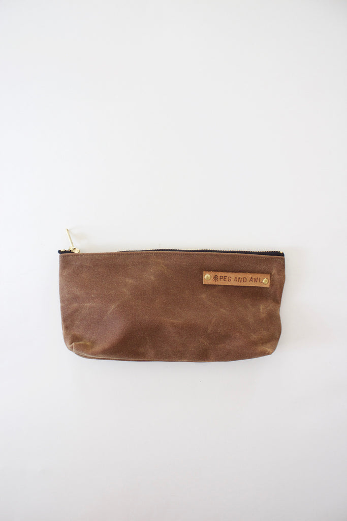 Peg and Awl made canvas pouch with antique WWII leather.