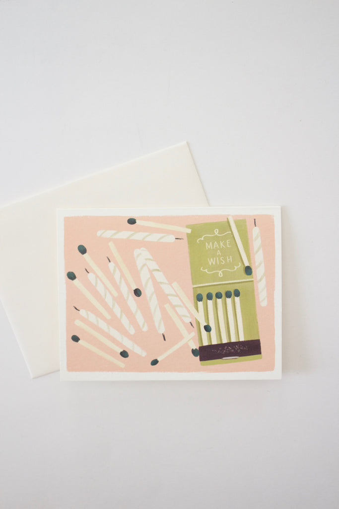 Make a wish birthday greeting card made in USA by Quill & Fox.