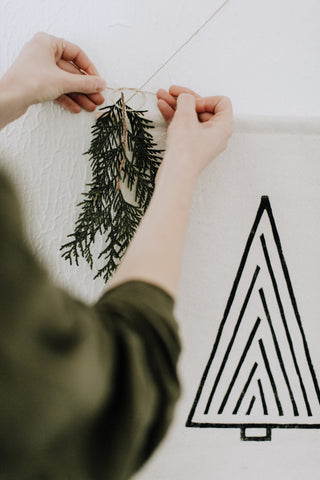 Holiday Blockprinted Tree Banner