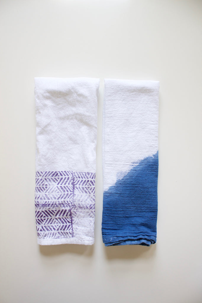 Set of two natural indigo and block printed tea towels.