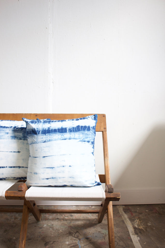 Hand dyed indigo striped pillow made in the USA.