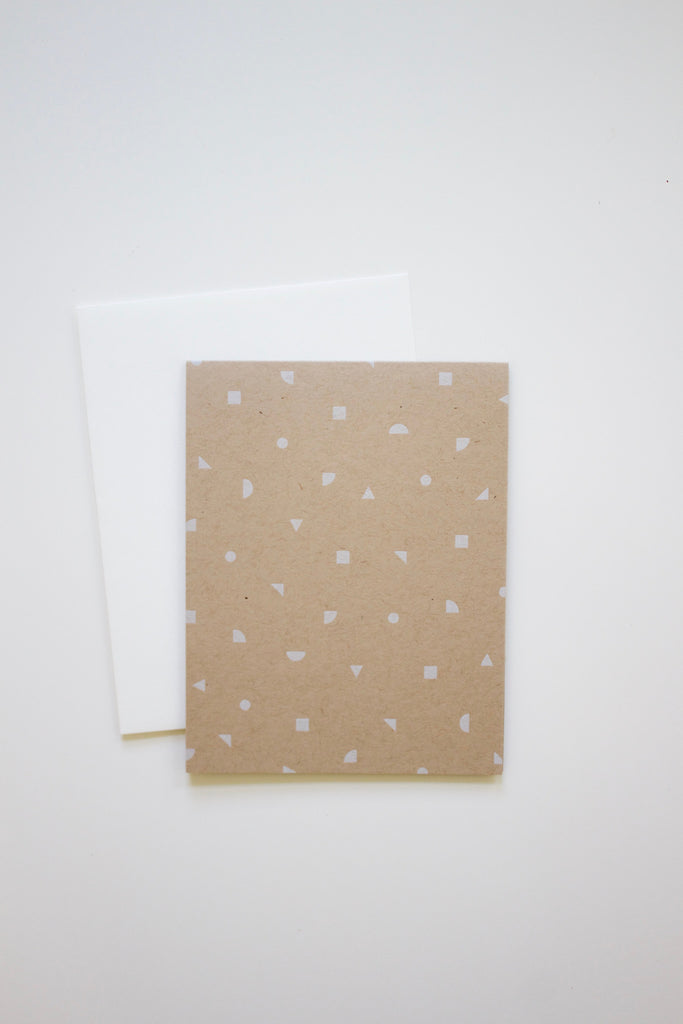 Handmade geometric confetti kraft greeting card.